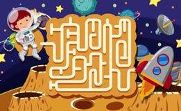 En Maze Puzzle Game Space Scene vektor illustrationer