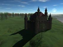 En medeltida slott nära till skogen på kullen Arkivfoton