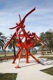 En metallskulptur i ett fort Myers Park Arkivbilder
