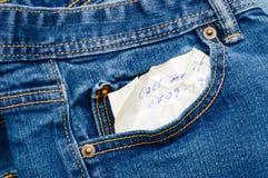 En mi bolsillo del dril de algodón Fotografía de archivo