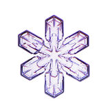 En micrographic snöflinga (snökristall) i vit bakgrund Arkivfoton
