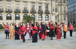 En miljard stigande pråliga folkhopdans i Sheffield Royaltyfri Foto