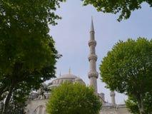 En miniaret av den blåa moskén i Istanbul royaltyfri foto