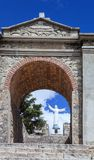 En minnesmärke till offren av jordskalvet Huascaran, Peru Arkivfoto