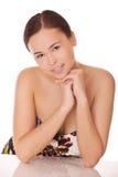 En mitt - den östliga kvinnan med sund rengöring flår Royaltyfria Foton