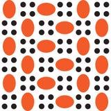 En modell av orange ovals och svartcirklar Arkivbilder