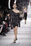 En modell går landningsbanan under den Christian Dior showen Arkivbild
