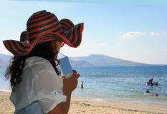 En modell på den Subic stranden Royaltyfria Foton