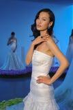 En modell poserar under den brud- samlingen Pamella Roland Presentation för nedgången 2015 Royaltyfri Foto