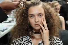 En modell som i kulisserna poserar för den Carmen Marc Valvo Spring /Summer modeshowen 2017 Royaltyfri Bild