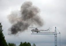 En modellsimulator med en helikopter Mi-8 på området av den Noginsk räddningsaktionmitten av departementet av nöd- lägen av Russ Fotografering för Bildbyråer