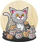 En moder Cat Cartoon Character med en kull av kattungar Arkivfoton