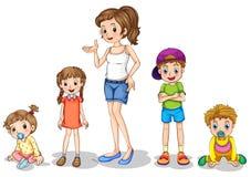 En moder med hennes fyra ungar royaltyfri illustrationer