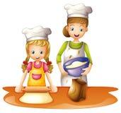 En moder och en dotter stock illustrationer