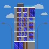En modern affärshotellbyggnad som göras av exponeringsglas och betong stock illustrationer