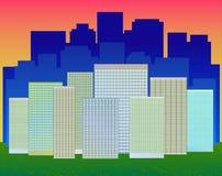 En modern stad med skyskrapor Fotografering för Bildbyråer