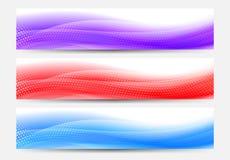 En modern uppsättning av titelraden för vektorrengöringsdukbaner med flödande abstrakt begrepp B Arkivbilder