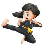 En modig flicka som gör karate stock illustrationer