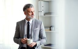 En mogen affärsman som står i ett kontor som rymmer en kopp kaffe kopiera avstånd arkivfoto