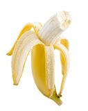 En mogen banan på vit bakgrund Royaltyfri Fotografi