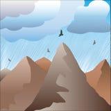 En montagnes il pleut Images stock
