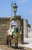 En monterad soldat på det 12th århundradet walled ingången till Hassan Tower i Rabat, Marocko Fotografering för Bildbyråer