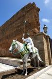 En monterad soldat på det 12th århundradet walled ingången till Hassan Tower i Rabat, Marocko Royaltyfri Foto