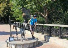 En monument till en televisionkamera i Kiev Arkivbilder