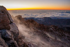 En morgon upptill av Pico del Teide, Tenerife Arkivfoton