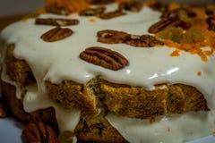 En morotkaka som dekoreras med pecannötmuttrar och vit vaniljkräm Royaltyfri Foto