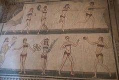 En mosaik av Villa del Casale, i piazzaarmerina, Sicilien royaltyfria foton