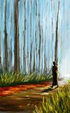 en munk i skogen Arkivfoto