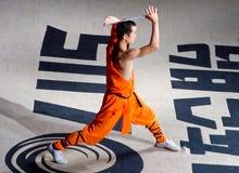 En munk som utför kines Kung Fu Royaltyfri Foto