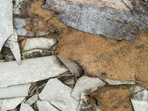 En murken övergiven cementbyggnadsröra med taktegelplattor och uppvaktar Arkivfoto