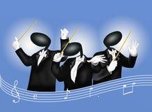 En musikledare med musikaliska anmärkningar och Sound Wav royaltyfri illustrationer