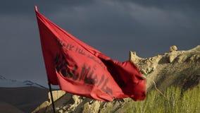 En muslimsk röd flagga i natur stock video