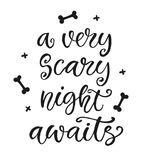 En mycket läskig natt väntar på Vektorillustration för din feriedesign Arkivfoto