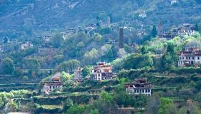 En mycket liten by i Danba, sichuan Royaltyfria Bilder