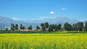 En mycket liten by i Gansu Arkivfoto