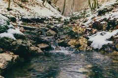 En mycket liten vattenström under vintern arkivfoto