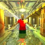 En mystisk man badar Royaltyfri Foto