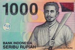 Indonesisk sedel av nominellt värde 1000 Arkivbilder