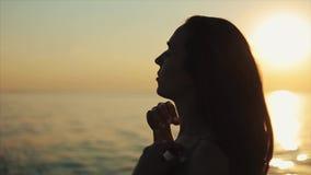 En nära sidosikt av en härlig flicka som gör en hästsvans som tycker om panoraman av den härliga solnedgången på havet arkivfilmer