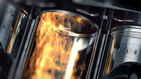 En närbild av motorn i ultrarapid med explosioner av bränsle