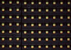 En närbildblick av LED som annonserar panelen arkivbilder