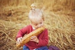 En nätt liten flicka äter ett bröd på ett fält royaltyfri bild