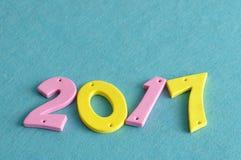 2017 en números rosados y amarillos Imagen de archivo libre de regalías