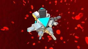 En Nano Bot i människoblodströmmen stock illustrationer