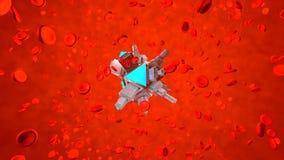 En Nano Bot i människoblodströmmen vektor illustrationer