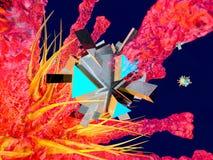 En Nano Bot som anfaller en virus royaltyfri illustrationer